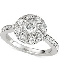 Marchesa - Diamond Halo Engagement Ring (1 Ct. T.w.) In 14k White Gold - Lyst