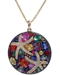 Effy Collection - Multicolor Sapphire (5-3/8 Ct. T.w.) And Diamond (1/4 Ct. T.w.) Starfish Pendant In 14k Gold - Lyst