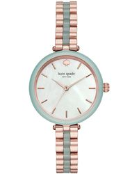 ff4c0981364 Kate Spade - Holland Rose Gold-tone   Green Stainless Steel Bracelet Watch  34mm -