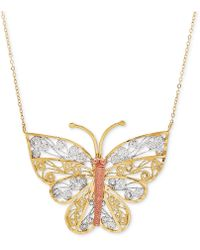 """Macy's - Tricolor Butterfly Filigree 17"""" Pendant Necklace In 10k Gold - Lyst"""