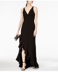 Betsy & Adam - Plunging Ruffled Gown - Lyst