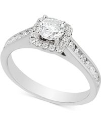 Macy's - Diamond Channel Set Halo Engagement Ring (1 Ct. T.w.) In 14k White Gold - Lyst