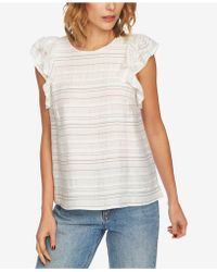 1.STATE - Striped Flounce-sleeve Top - Lyst