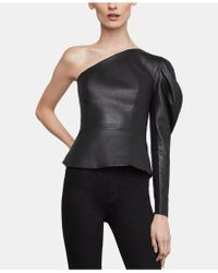 BCBGMAXAZRIA - Lillyan One-shoulder Faux-leather Top - Lyst