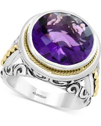 Effy Collection - Effy® Amethyst Filigree Statement Ring (7-9/10) In Sterling Silver & 18k Gold-plate - Lyst