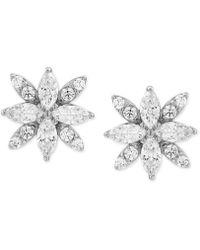 Macy's - Cubic Zirconia Marquise Flower Stud Earrings In Sterling Silver - Lyst