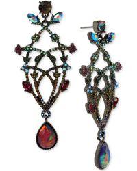 Betsey Johnson - Hematite-tone Multi-stone Chandelier Earrings - Lyst