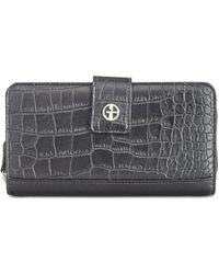 Giani Bernini - Saffiano & Croc-embossed Zip-around Wallet - Lyst
