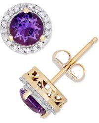 Macy's - Amethyst (9/10 Ct. T.w.) & Diamond (1/8 Ct. T.w.) Halo Stud Earrings In 14k Gold - Lyst