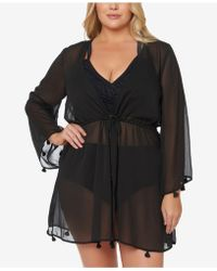 Jessica Simpson - Plus Size Tie-front Tasseled Kimono Cover-up - Lyst