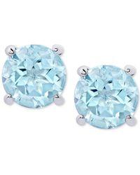 Macy's - Blue Topaz Stud Earrings (2 Ct. T.w.) In Sterling Silver - Lyst
