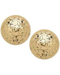 Macy's - Crystal-cut Ball Stud Earrings (10mm) In 14k Gold - Lyst