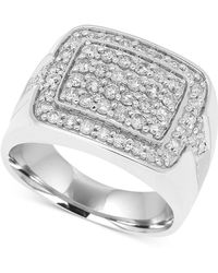 Macy's - Men's Diamond Cluster Ring (1-1/2 Ct. T.w.) In 10k White Gold - Lyst