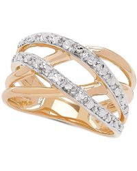 Macy's - Two-tone Crossover Statement Ring In 10k Gold & Rhodium-plate - Lyst