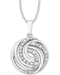 "Macy's - Diamond Swirl 18"" Pendant Necklace (1/10 Ct. T.w.) In Sterling Silver - Lyst"