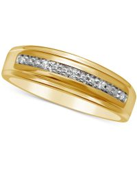 Macy's - Men's Diamond Accent Wedding Band In 14k Gold - Lyst