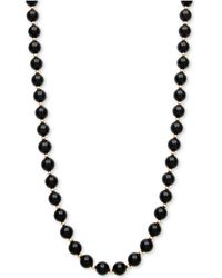 Macy's - Onyx Bead Necklace (3mm) In 10k Gold - Lyst