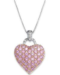 Macy's - Pink Sapphire (2-1/4 Ct. T.w.) And Diamond Accent Heart Pendant Necklace In Sterling Silver - Lyst