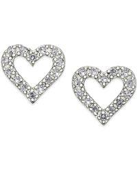 Macy's - Diamond Heart Stud Earrings In Sterling Silver (1/10 Ct. T.w.) - Lyst