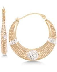 Macy's | Crystal Ribbed Hoop Earrings In 10k Gold | Lyst