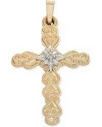 Macy's - Diamond Accent Two-tone Filigree Cross Pendant In 14k Gold And White Gold - Lyst
