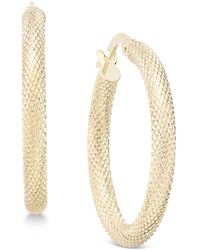 Macy's - Textured Mesh-look Hoop Earrings In 10k Gold - Lyst