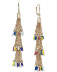 INC International Concepts - I.n.c. Gold-tone Multicolor Seed Bead Chain Tassel Drop Earrings, Created For Macy's - Lyst