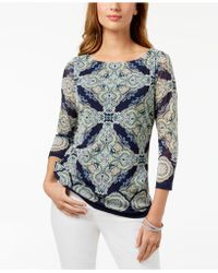 Charter Club - Printed Boat-neck Mesh Top, Created For Macy's - Lyst