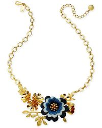 "Kate Spade - Gold-tone Denim Flower Statement Necklace, 17"" + 3"" Extender - Lyst"