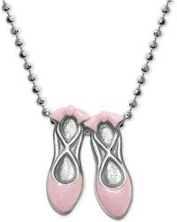 """Alex Woo - Pink Enamel Ballet Slipper 16"""" Pendant Necklace In Sterling Silver - Lyst"""