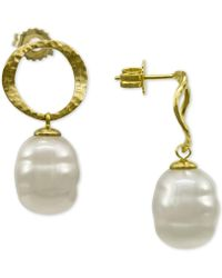 Majorica - Gold-tone Imitation Baroque Pearl Drop Earrings - Lyst