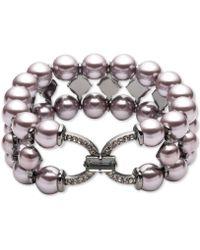 Carolee - Hematite-tone Crystal & Imitation Pearl Triple-row Stretch Bracelet - Lyst