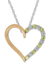 Macy's - Peridot (1/3 Ct. T.w.) And Diamond Accent Heart Pendant Necklace In Sterling Silver And 14k Gold - Lyst