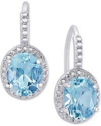 Macy's - Blue Topaz (6-3/8 Ct. T.w.) And Diamond Accent Drop Earrings In Sterling Silver - Lyst
