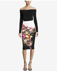 Eci - Floral-print Colorblocked Skirt - Lyst