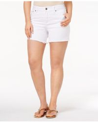 Rampage - Trendy Plus Size Lace-trim Denim Shorts - Lyst