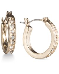 Lonna & Lilly - Gold-tone Pavé Crystal Hoop Earrings - Lyst