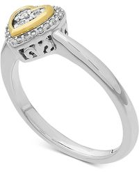 Macy's - Diamond (1/10 Ct. T.w.) Heart Ring In 14k Gold Over Sterling Silver - Lyst