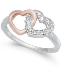 Macy's - Diamond Interlocking Heart Ring (1/10 Ct. T.w.) In Sterling Silver And Rose Gold-plate - Lyst