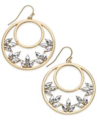 "INC International Concepts - I.n.c. Medium 1.5"" Gold-tone Crystal Drop Hoop Earrings, Created For Macy's - Lyst"