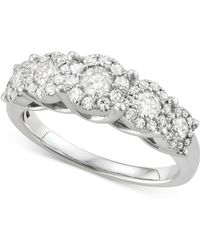 Macy's - Diamond Five Cluster Ring (1 Ct. T.w.) In 14k White Gold - Lyst