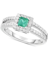 Macy's - Emerald (1/3 Ct. T.w.) & Diamond (1/3 Ct. T.w.) Ring In 14k White Gold - Lyst
