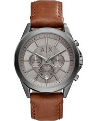 Armani Exchange - Men's Chronograph Brown Leather Strap Watch 44mm Ax2605 - Lyst
