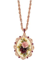"""2028 - Rose Gold-tone Purple Crystal Flower Oval Pendant Necklace 28"""" - Lyst"""