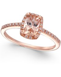 Macy's - Morganite (3/4 Ct. T.w.) And Diamond (1/10 Ct. T.w.) Ring In 14k Rose Gold - Lyst