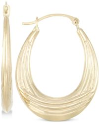 Macy's - Ribbed Textured Oval Hoop Earrings In 10k Gold - Lyst