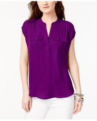 INC International Concepts - Dolman-sleeve Mixed-media Utility Shirt - Lyst 1beca32de