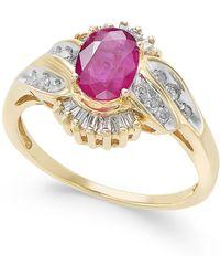 Macy's - Ruby (1 Ct. T.w.) & Diamond (1/3 Ct. T.w.) Ring In 14k Gold - Lyst