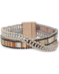 Lonna & Lilly - Two-tone & Fabric Crystal Double-row Wrap Bracelet - Lyst