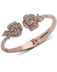 Anne Klein - Rose Gold-tone Crystal Flower Cuff Bracelet, Created For Macy's - Lyst